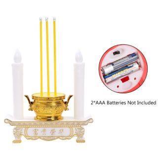 Giá Nến Điện Tử Led Đèn Đốt Nhang Cắm Pin Đèn Thờ Phượng Trong Nhà Ở Sảnh Đường, Tang Lễ Trắng thumbnail