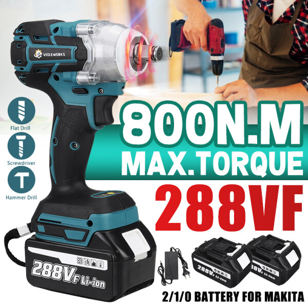 288V 800N.M Electric Wrench Cordless Brushless Impact Wrench Car Tyre Nut Driver with battery