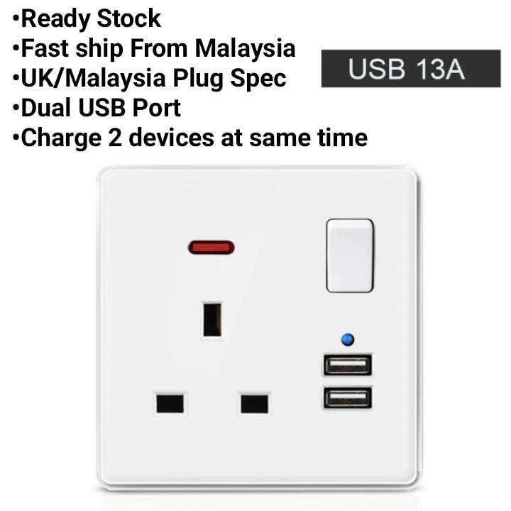 Usb Wall Socket Switch Ac / Dc Charger Plug Power Adapter Uk Wall Socket By Kk Shoppe.