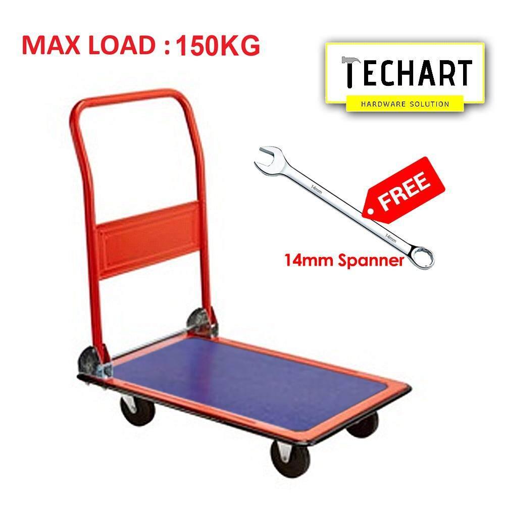 Golden Bull Steel Platform Trolley 150kg Hand Truck 4 Wheel Trolley With Extra Silent PU Wheels Orange FREE 14mm Spanner