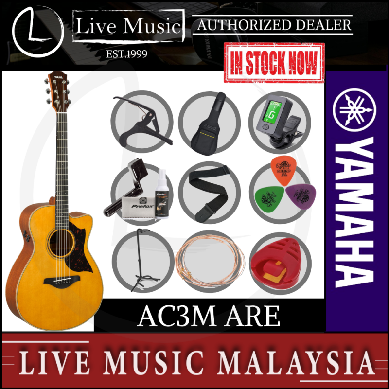 Yamaha AC3M ARE Concert Cutaway Acoustic-Electric Guitar - Natural (AC-3M/AC3M-NT) Malaysia