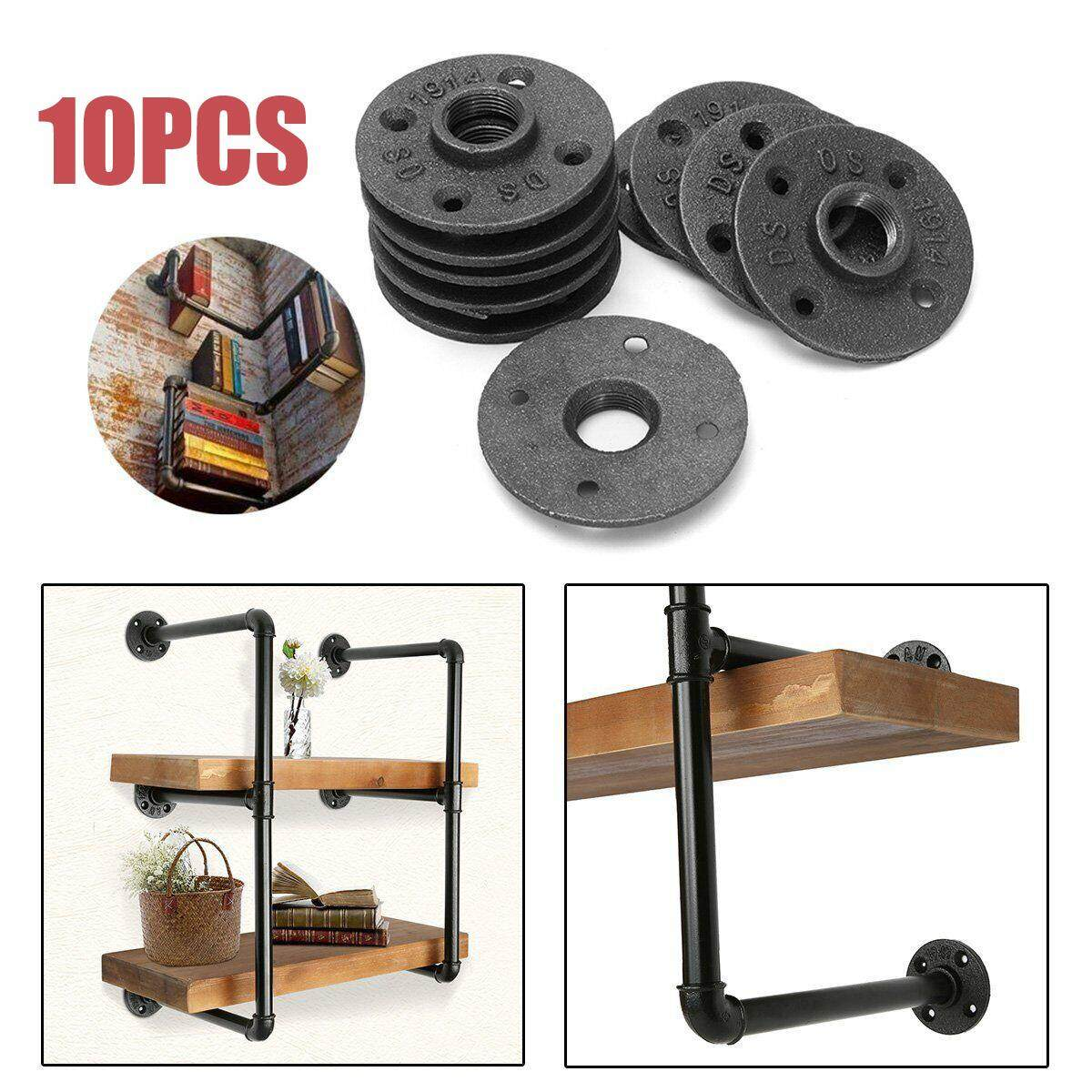 10 Pcs 1/2 Malleable Threaded Floor Flange Iron Pipe Fittings Wall Mount Floor Antique Retro style Hardware Tool Iron casting Flanges