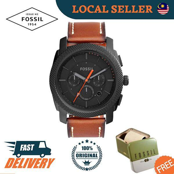 [Authentic] Fossil Machine Chronograph Luggage Leather Men Watch Jam Tangan Lelaki FS5234 Malaysia