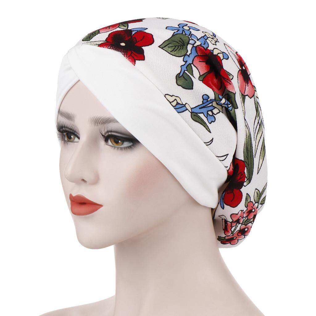 df275c19148 Women Floral Printed India Hat Muslim Ruffle Cancer Chemo Beanie Turban  Wrap Cap