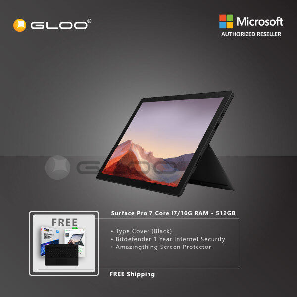 Microsoft Surface Pro 7 Core i7/16G RAM - 512GB Black - VAT-00025 + Surface Pro Type Cover [Choose Color] + Bitdenfender 1 Year Internet Security + Amazingthing Screen Protector Malaysia