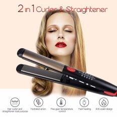 2 trong 1 Sử Dụng máy ép tóc và dụng cụ làm xoăn tóc Bàn là điện phẳng Máy Uốn Xoăn Tóc Tóc công cụ tạo kiểu (Đen) F-AEHS208HQ