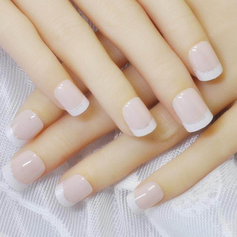 Artifical Nails brands Acryllic Nails on sale prices set Source · 24 Pcs Acrylic Design False French Kuku Penuh Kuku Tips Palsu Art Cover Manicure Intl