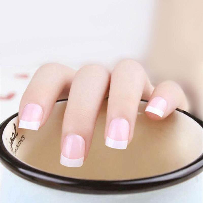24 Pcs Acrylic Design False French Kuku Penuh Kuku Tips Palsu Art Cover Manicure-Intl