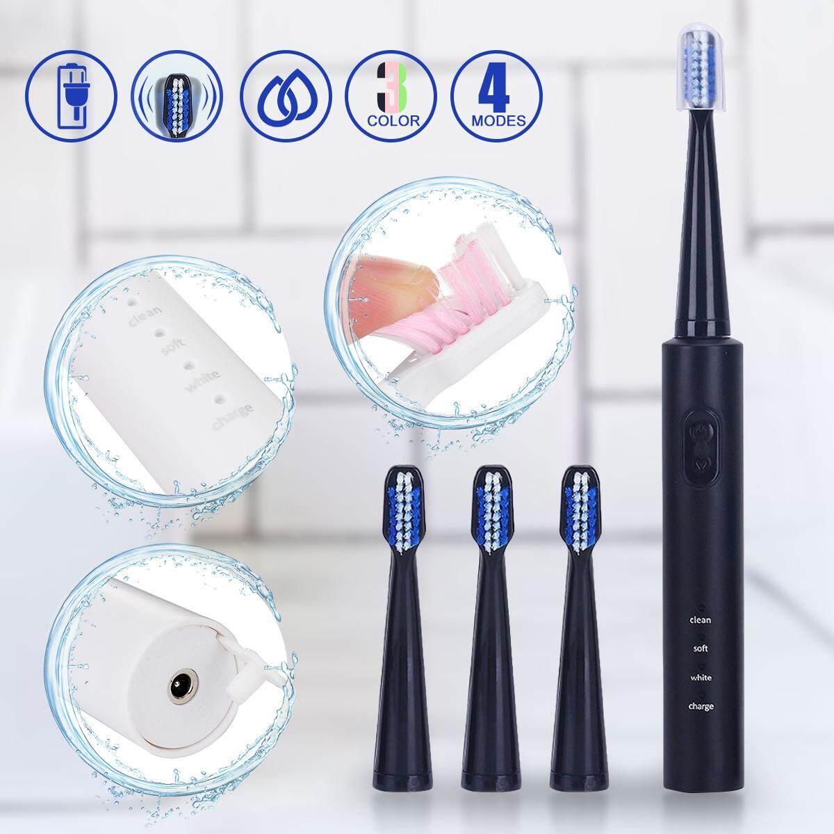 3 Mode Pembersihan Ultrasonik Isi Ulang Sikat Gigi Elektrik Gigi Bersih + 4  Kepala Hitam- 8cd05fa752