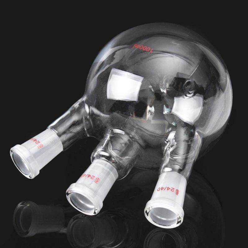 3-Neck 24/40 1000ml Round Bottom Glass Flask 3 Neck Laboratory Boiling Vessel