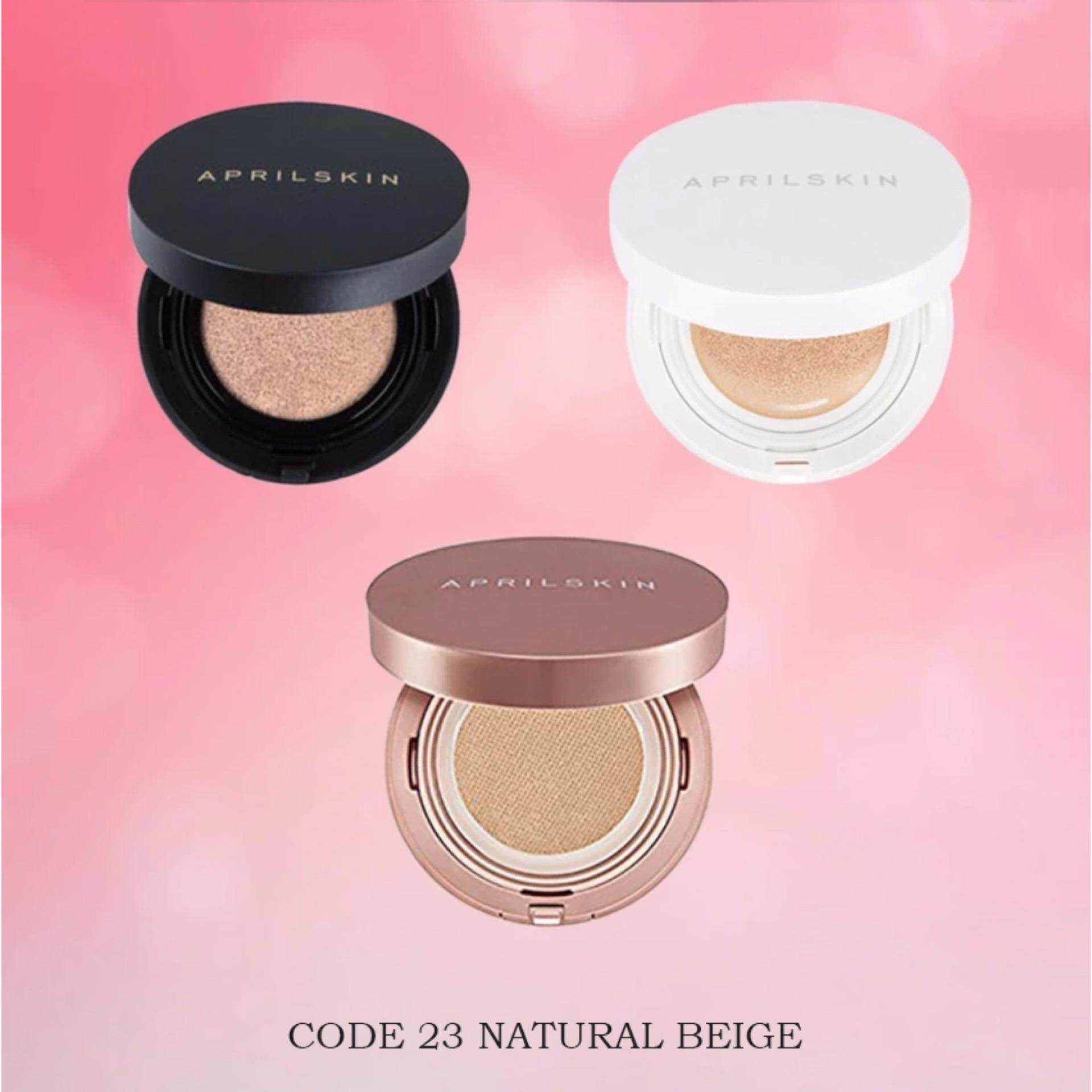 2 SET [April Skin] Magic Snow Cushion BLACK (LIGHT BEIGE) & WHITE (PINK BEIGE) foundation