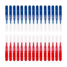 30pcs Tooth Flossing Head Hygiene Dental Plastic Interdental Brush Toothpic (red + Blue) By Welcomehome.