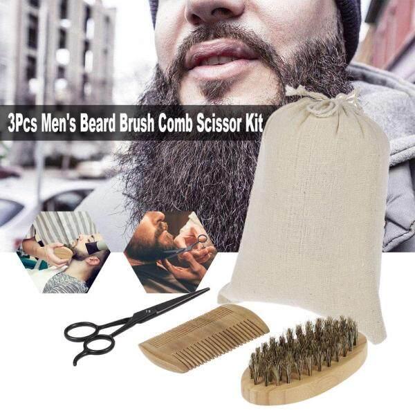 3Pcs Mens Beard Brush Comb Scissor Kit Boar Bristle Shaving Brush + Verawood Beard Comb + Stainless Steel Scissor Male Facial Hair Brush Set giá rẻ