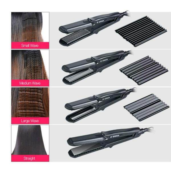 Buy CkeyiN 4 In1 Interchangeable Flat Iron Professional Hair Straightener & Crimping Iron Crimper Hair Styling Tools (Black) HS200H Singapore