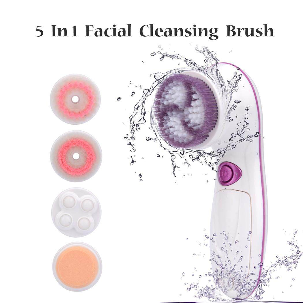 Great Deal 5 In 1 Deep Clean F*c**l Wash Brush Electric Waterproof Face Cleaner F*c**l Beauty Massager White Mr173Z Intl
