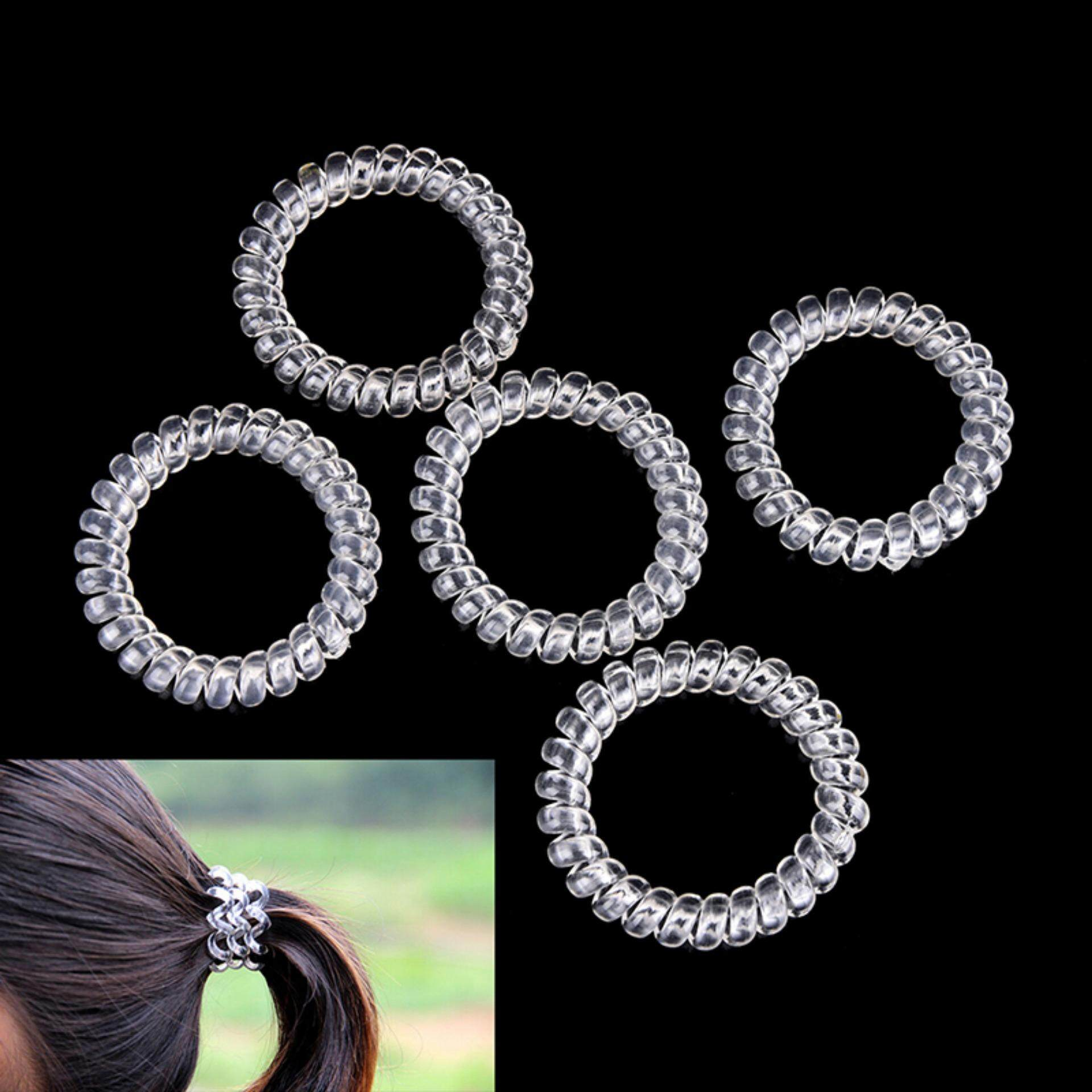5pcs Lady Girl Clear Elastic Rubber Hair Ties Spiral Slinky Rubber Rope  Hairband - intl ab32582ec00