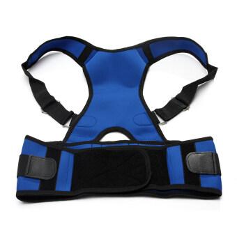Adjustable Posture Back Lumbar Support Corrector Brace Shoulder Band Belt Blue 2XL Comfortable