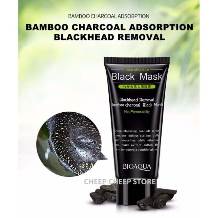 Blackhead Cleansing Remover Mask Bamboo Charcoal Blackhead: BioAqua Deep Cleansing Bamboo Charcoal Black Mask