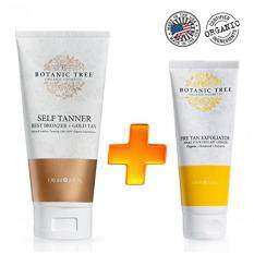 Botanic Tree Self Tanner and Pre Tan Exfoliator, Natural Sunless Tanning Lotion for All Skin Types (Pack of 2)