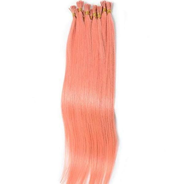Brazilian Lurus Human Rambut Ekstensi I-tip 100% Virgin Lurus Ekstensi 100 Helai Per Paket Warna Merah Muda #- internasional