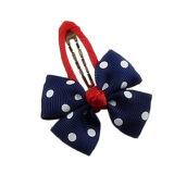 Girls Hair Clips Ribbon Dots Bow Bowknot Navy Blue - Intl