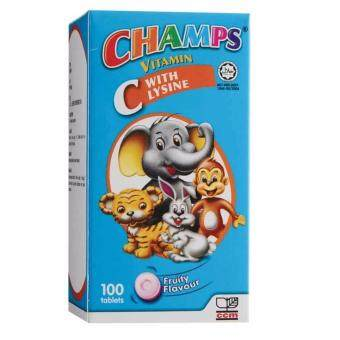 CHAMPS VITAMIN C WITH LYSINE FRUITY 100s