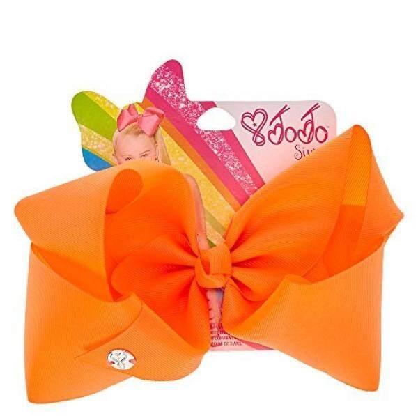 Claires Girls JoJo Siwa Large Neon Orange Hair Bow - intl