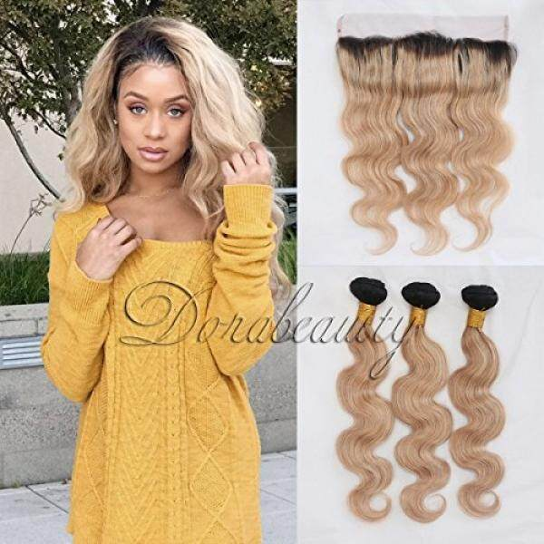 DoraBeauty 8A Peruvian Virgin Human Hair Bundles with Lace Frontal Closure 13×4 Ombre 2 Tone Natural Black Honey Blonde #1B/27 Dark Roots Body Wave Free Part Pre Plucked with Baby Hair 14+16 18 20 - intl