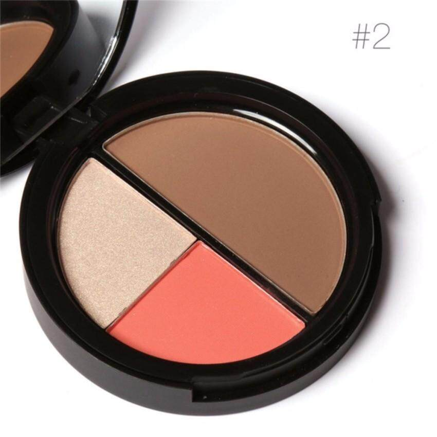 FOCALLURE 3 Colors Shimmer Bronzers and Highlighters Powder MakeupBlusher Highlighter for Palette Contour - intl