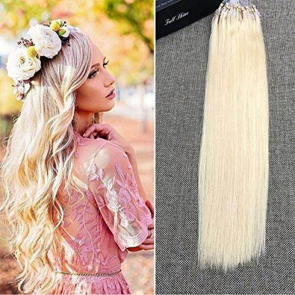Full Shine 22 1g per Strand 50 Gram Per Package 100% Remy Hair Loop Micro Ring Beads Human Hair Extensions Color#613 Platinum Blonde Silky Straight Hair Extensions - intl