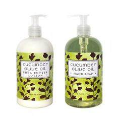 Greenwich Bay CUCUMBER OLIVE OIL Hand & Body Lotion and Hand Soap Duo Set Enriched With