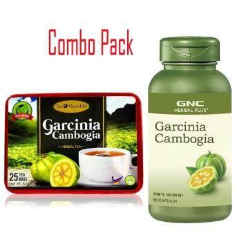 Halal – Organic Garcinia Cambogia Herbal Tea For Weight Loss, Block Fat, Laxative, Detox & Cleansing (25 Tea Bags) + GNC Herbal Plus® Garcinia Cambogia 500mg (90 Capsules)