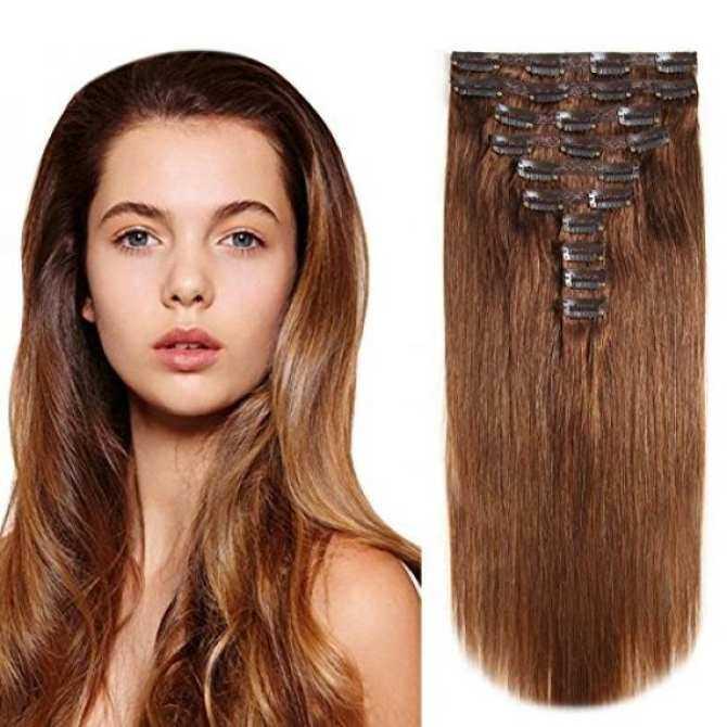 Heesaga Clip In Hair Extensions Real Human Hair 16 Inch 120 Grams