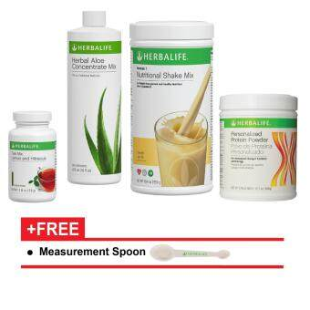 HERBALIFE Aloe Tea Shake Protein QUICK COMBO - F1 Vanilla + F3 + Aloe Concentrate + Lemon & Hibiscus Tea Mix 50g