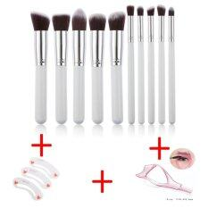 High Quality 10pcs Makeup Brush Set Cosmetic Blending Pencil Brushes + Stencil For Eyebrows Makeup Clear Durable Eyebrow Drawing Template Assistant Card + 3 In 1 Make Up Eye Mascara Eyelash Comb Applicator Guide Card Tool By Yi Francais.