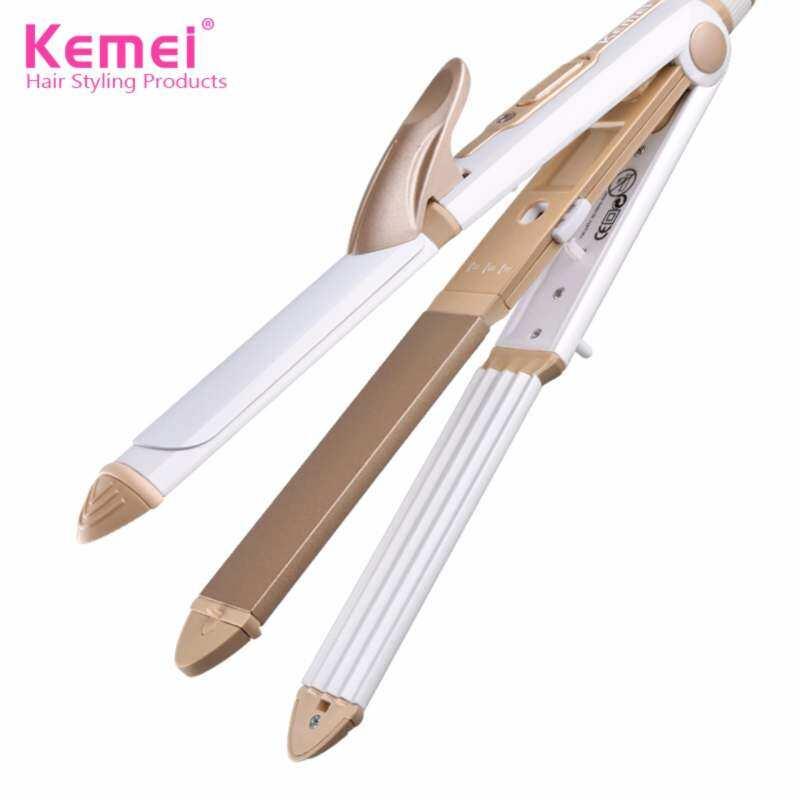 Kemei KM-1213 Thiết Kế Mới Đa Chức Năng 3 Trong 1 Lớp Phủ Gốm PTC Phần Tử Làm Nóng Tóc Và Curler Sắt Cho Phụ Nữ nhập khẩu