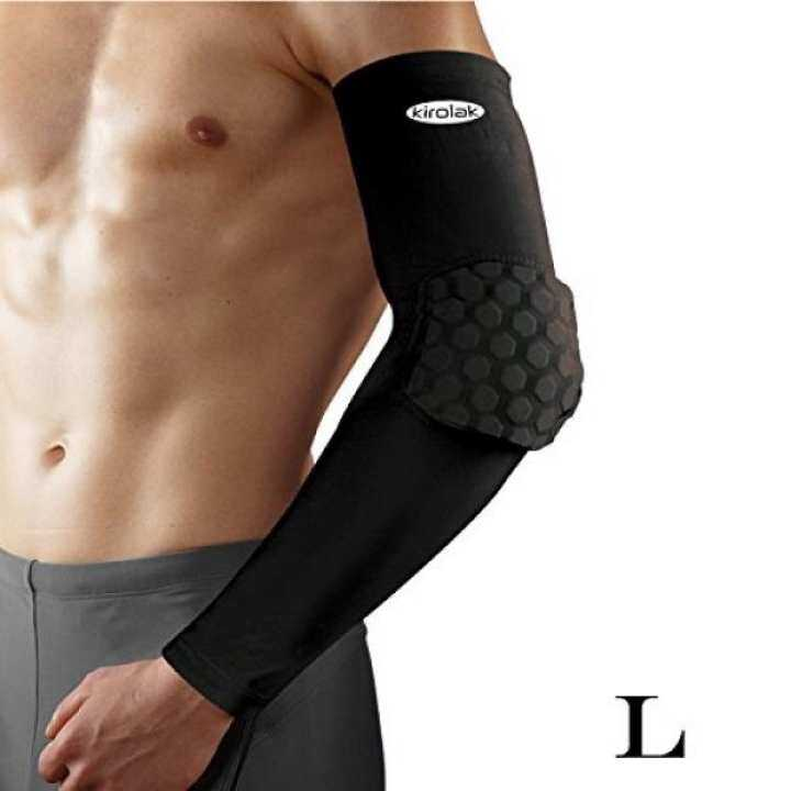 KIROLAK Arm Sleeve Elbow Compression Long Sleeve Sports Arm Forearm Brace Support Black Honeycomb Pad Crashproof Basketball Cycling Arm Guard Sleeve - Size L