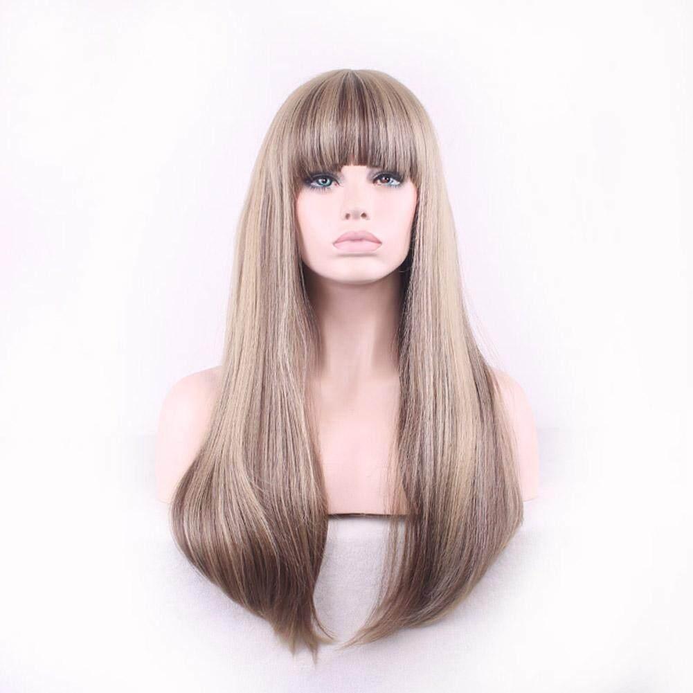 Boom Shakalaka Lady Fashion Poni Depan Rapi Panjang Lurus Penuh Wig Cosplay Pesta Klub Dekorasi Rambut