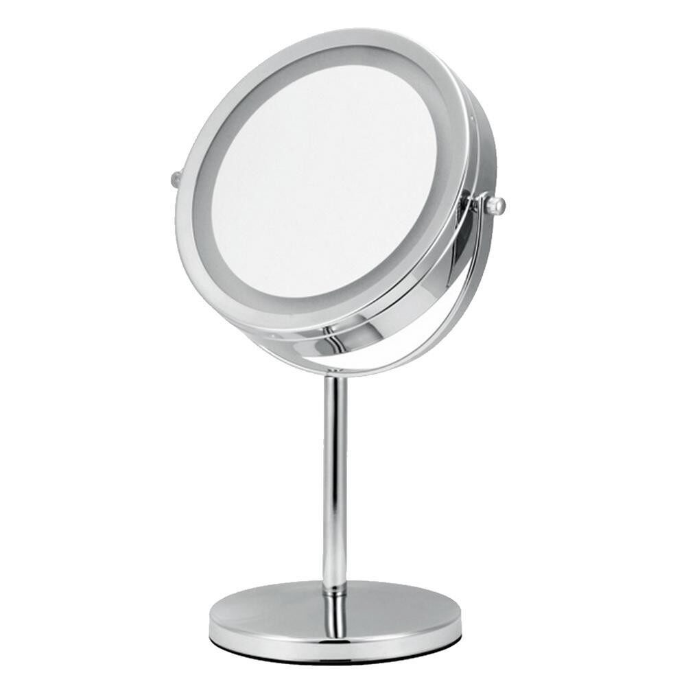 Led Vanity Mirror 13 Inches Circular Lighted Makeup Mirror Double-Sided Rotating Mirror With 5x Magnification , Silver - intl Philippines