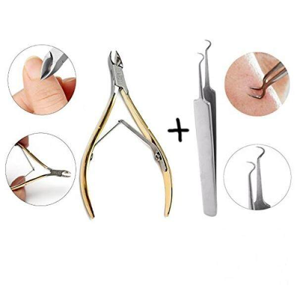 LuckyFine Stainless Steel 2 Care Kit, Manicure Pedicure Cuticle Nippe Clipper Cutter Dead Skin Scissor + Blackhead Acne Nipper Stainless Steel Blackhead Acne Remover Tools - intl