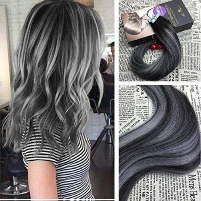 Moresoo 20 Inch Real Human Hair Tape In Extensions Balayage Two Tone