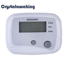 Multifunction Pedometer Walking Distance Calorie Passometer Counter White By Crystalawaking.