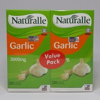 Naturalle Garlic Oil 3000mg Softgel 220's+220's Exp3/2020 (Relieves Stomach Gas and Gastric, Lowers Cholesterol and Blood Pressure, Strong Antioxidant, Improves Immune System, Anti-Viral, Anti-Bacterial, Relieves Cold, Flu)