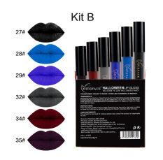 NICEFACE 6 Pcs/lot Gaya Tengkorak Halloween Tahan Air Matte Lipstik Metalik Panjang Cair Awet Kecantikan Bibir Mak
