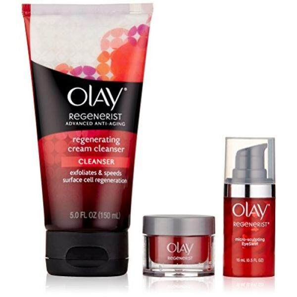 Olay Regenerist Cream Cleanser 5oz with Regenerist Micro Sculpting Eye Swirl Eye Cream 0.5oz & Regenerist Micro Sculpting Cream Moisturizer 0.5oz Trio Pack, 1 Kit - intl