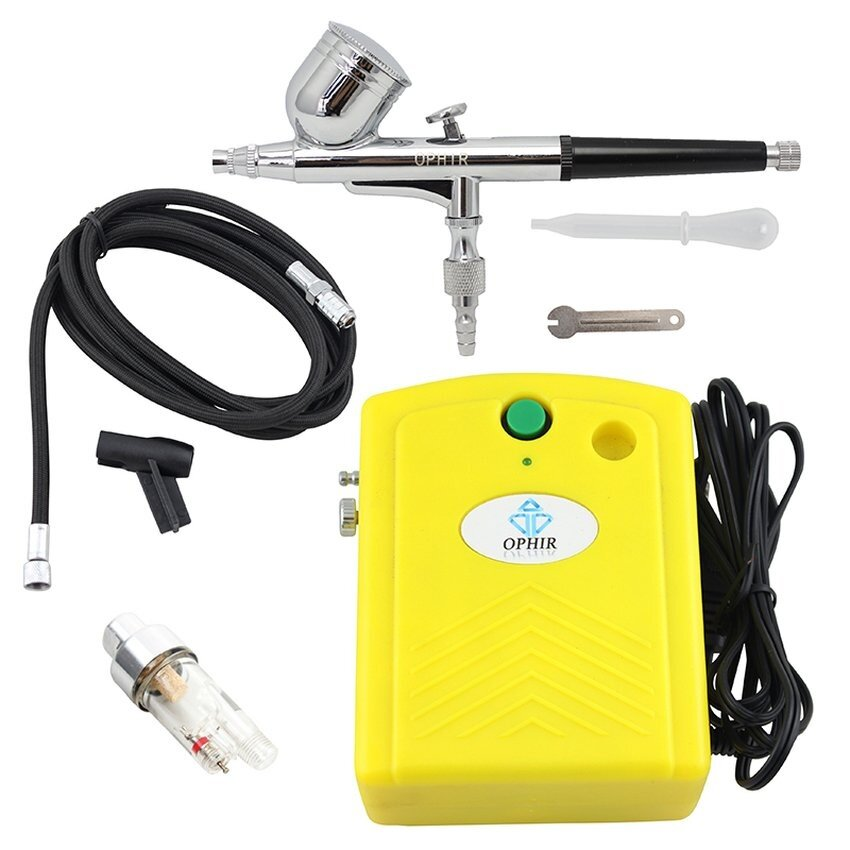 OPHIR 12V DC 0.3mm Dual-Action Airbrush Kit with Mini YellowAirCompressor for Face Makeup