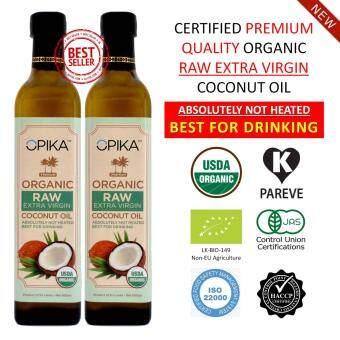 OPIKA Premium Organic Raw Extra Virgin Coconut Oil 500ml (Twin Pack)