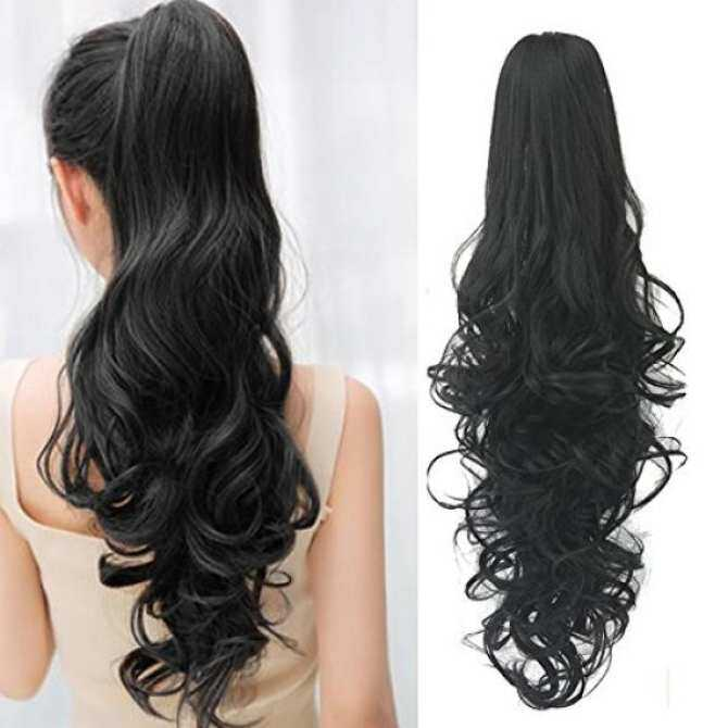 Ponytail Hair Extensions Clip In 24 Inch Black Synthetic Claw Clip