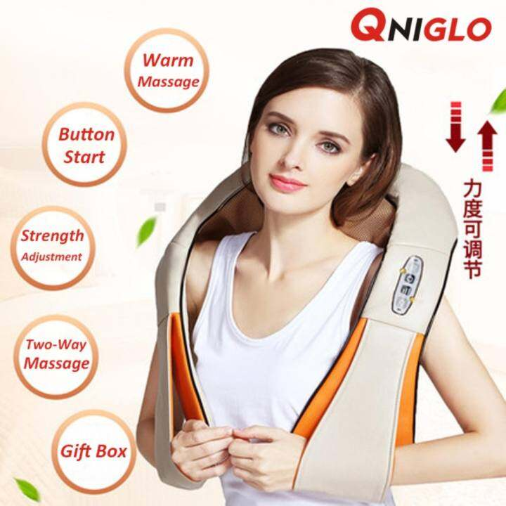 QNIGLO Neck & Back Massager with Heat - Shoulder - Foot Massager - Kneading Massage Pillow With Heat