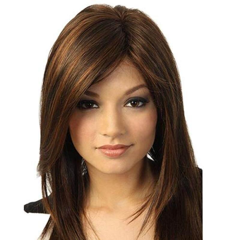 Sanwood® Women Dark Brown Straight Partial Bangs Full Wig Heat Resistant Hair nhập khẩu